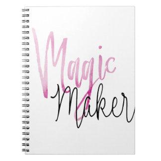Soft Pink Water Color Magic Maker modern black scr Spiral Notebook