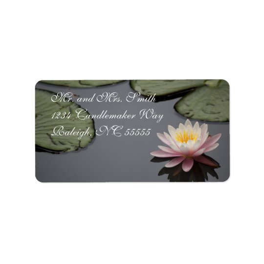 Soft Pink Waterlily Flower Label