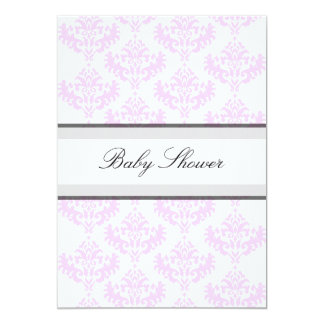 Soft Pink & White Damask It's a Girl Baby Shower 13 Cm X 18 Cm Invitation Card