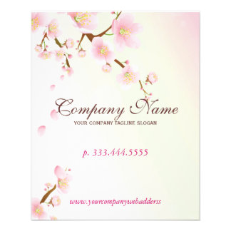 Soft Pink & White Floral Blossom Natural Spa Flyer