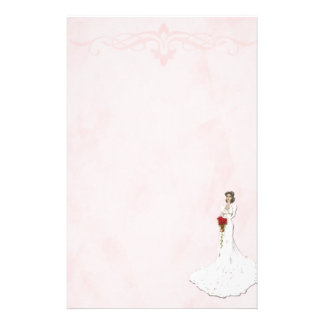 Soft Pink With Bride Wedding Customized Stationery