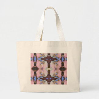 Soft Pink With Brown Periwinkle Accents Large Tote Bag