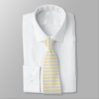 Soft Pink, Yellow and Blue Stripes Tie