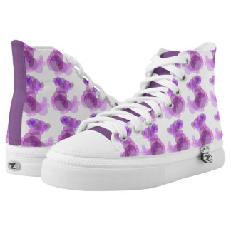 Soft pinks & purples circles pattern, purple panel high tops