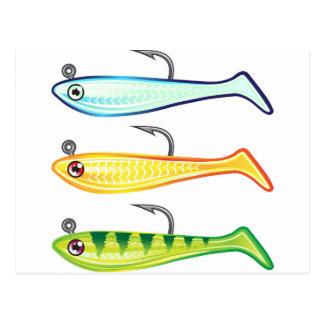 Soft plastic fishing lure bait fish imitation jig postcard