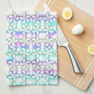 Soft Plumeria Pink Turquoise Purple Watercolor Tea Towels