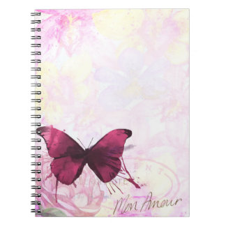 Soft Purple Butterfly Mon Amour Notebook