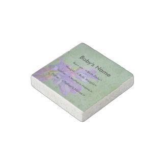 Soft Purple Flower Birth Statistics Stone Magnet