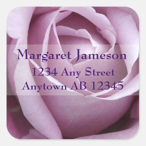 Soft Purple Rose Wedding Return Address Square Sticker