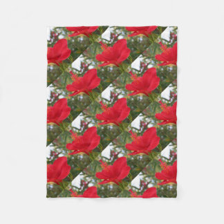 Soft Red Hibiscus With Natural Garden Background Fleece Blanket