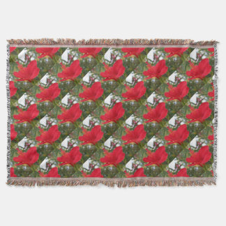 Soft Red Hibiscus With Natural Garden Background Throw Blanket