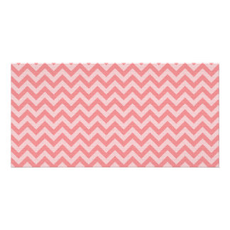 Soft red pink zigzag pattern customised photo card