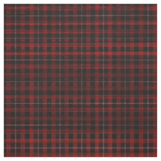 Soft Red Plaid Goth Punk Print Fabric