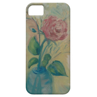 soft red rose in a blue vase iPhone 5 covers