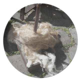 Soft rolls of wool called rovings or rolags plate