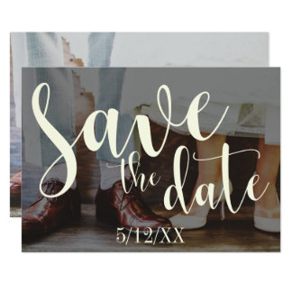 Soft Romantic Photo Typography 30 Save the Date 3 Card
