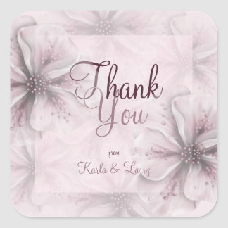 Soft Romantic Pink Floral Thank You Square Sticker