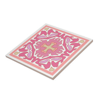 Soft Rose Coral and Beige Geometric Abstract Ceramic Tile