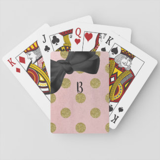 Soft Rose Pink Gold Glitter Glam Polka Dots Cute Playing Cards