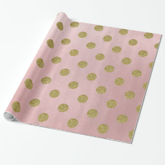 Soft Rose Pink Gold Glitter Glam Polka Dots Party Wrapping Paper