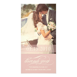 SOFT ROSE SCRIPT THANKS   WEDDING THANK YOU CARD PICTURE CARD