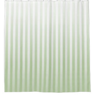 Soft Sage and White Stripes Shower Curtain