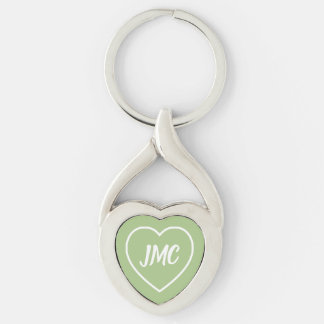 Soft Sage Green and White Heart Monogram Key Ring