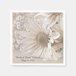 soft sepia daisy wedding bouquet paper napkin