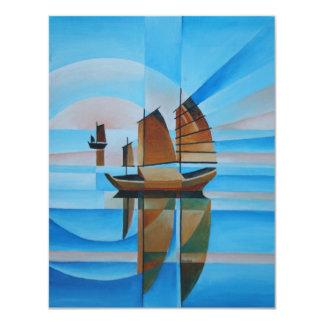 Soft Skies, Cerulean Seas and Cubist Junks 11 Cm X 14 Cm Invitation Card