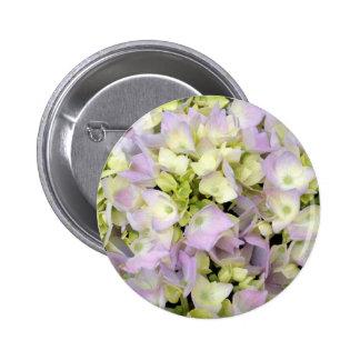 Soft Spring Hydrangea Blossoms Pink Lavender Green Pinback Button