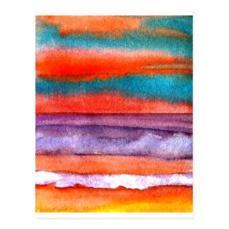 Soft Sun Play Beach Sunset Ocean Waves Art Postcard
