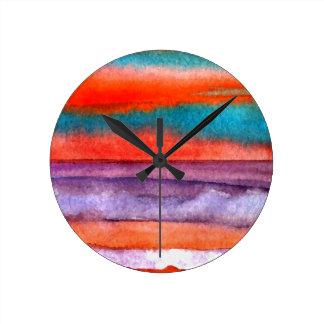 Soft Sun Play Beach Sunset Ocean Waves Art Round Clock
