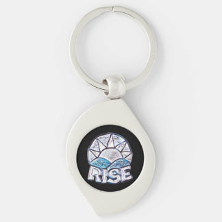 Soft Sun Rise ~ Uplifting Message Silver-Colored Swirl Key Ring