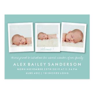 Soft Teal Birth Announcement with Three Photos Postcard