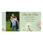 Soft teal + cream floral wedding save the date photo card
