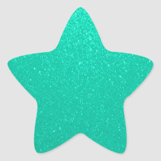 Soft Teal Glitter Star Sticker