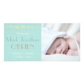 Soft Vintage Blues Birth Announcement Photo Card