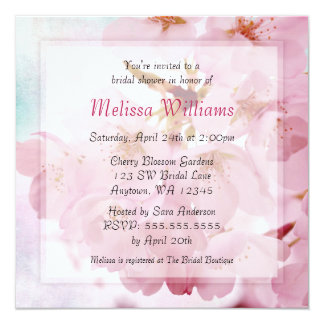 Soft Vintage Pink Cherry Blossoms Bridal Shower 13 Cm X 13 Cm Square Invitation Card