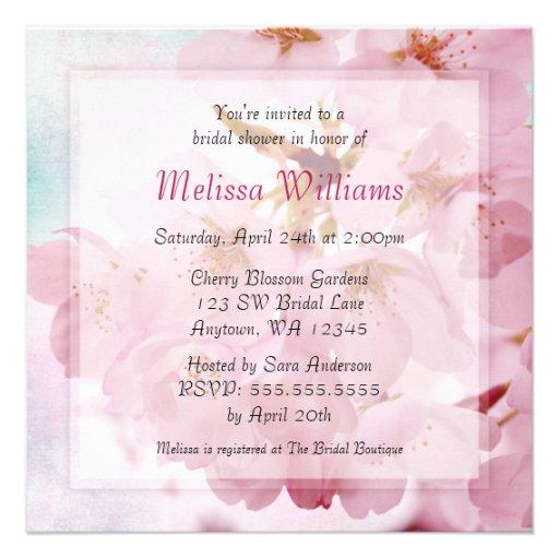Soft Vintage Pink Cherry Blossoms Bridal Shower Invitation