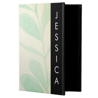 Soft Watercolor Leaves with Custom Name Case For iPad Air