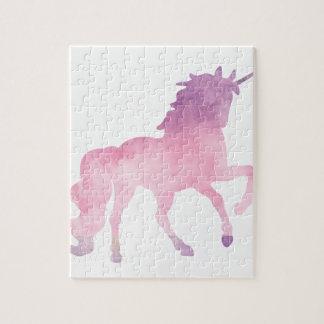 Soft watercolor pink unicorn jigsaw puzzle