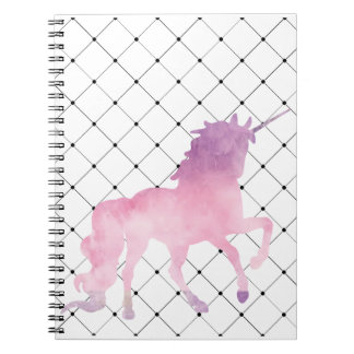 Soft watercolor pink unicorn spiral notebook