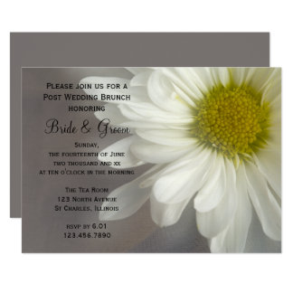 Soft White Daisy on Gray Post Wedding Brunch Card
