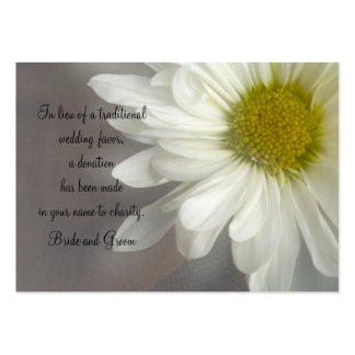 Soft White Daisy on Gray Wedding Charity Favor Pack Of Chubby Business Cards