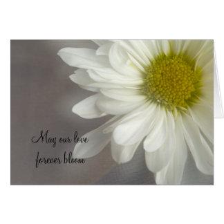 Soft White Daisy on Gray Wedding Invitation Card