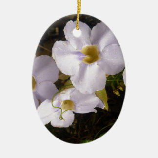 Soft White Floral Design Ceramic Oval Decoration