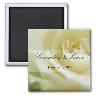 Soft White Rose Personal Wedding Magnet