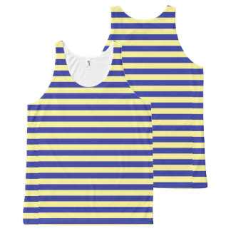 Soft Yellow and Blue Stripes All-Over Print Singlet