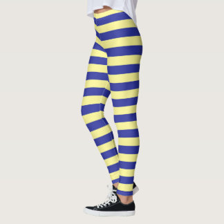 Soft Yellow and Blue Stripes Leggings
