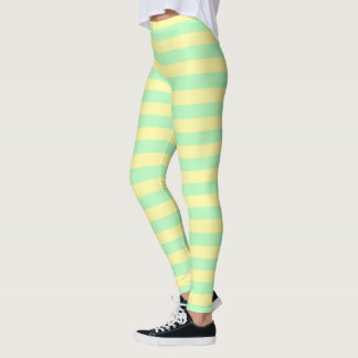 Soft Yellow and Soft Green Stripes Leggings